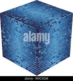Ein Würfel aus blauen Steine - Illustration, Azure abstract Vector Illustration - Stockfoto