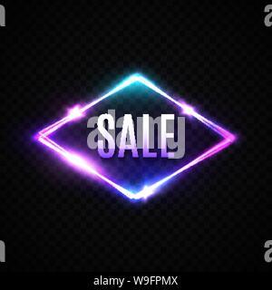 Verkauf neon Banner glühen. Elektrische rhombus Grenze. - Stockfoto