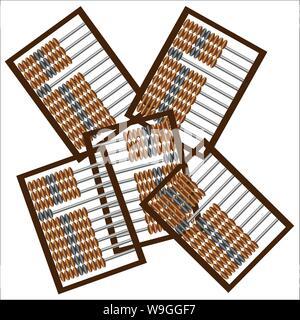 Eine Reihe von hölzernen Abacus für mathematische Berechnungen, alte Art und Weise der Rechnungslegung - Stockfoto