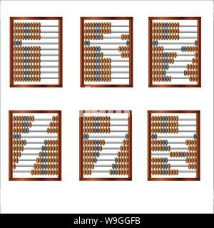 Ein Satz von sechs Holz- Abacus für mathematische Berechnungen, alte Art und Weise der Rechnungslegung - Stockfoto