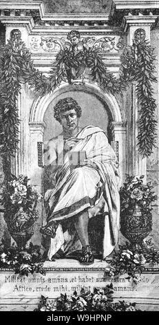 """Publius Ovidius Naso (43 v. Chr. - 18 N.CHR.), wie Ovid bekannt, war ein römischer Dichter, der während der Regierungszeit des Augustus lebte. Er war ein Zeitgenosse von Vergil und Horaz, mit denen er als einer der drei kanonische Dichter der Lateinischen Literatur geordnet wird. Er genoß große Popularität, aber, in die Geheimnisse der Literaturgeschichte, von Augustus ins Exil in einer entlegenen Provinz am Schwarzen Meer, wo er bis zu seinem Tod blieb gesendet wurde. Ovid selbst Attribute seines Exils zu carmen et error"""", ein Gedicht und ein Irrtum"""", aber sein Ermessen bei der Erörterung der Ursachen hat sich in Spekulationen unter Gelehrten führte. Stockfoto"""