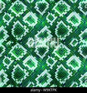 Grüne realistische Schlange Haut Textur, detaillierte nahtlose Muster - Stockfoto
