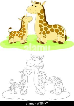 Vektor Familie der Giraffen - Mama und Baby - Stockfoto