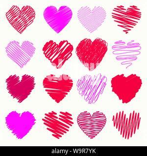 Vektor Sammlung von Scribbled Valentine Herzen mit Hand gezeichnet Stil von rot und rosa Farbe - Stockfoto