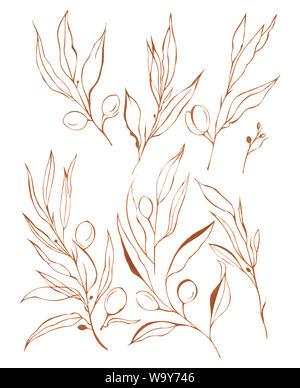 Abstrakt floral oil color Malerei. Handbemalte Gelbe und ...