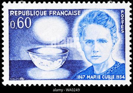 Marie Sklodowska-Curie (1867-1934), Briefmarke, Frankreich, 1967 - Stockfoto