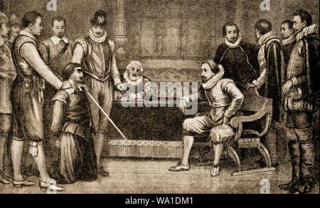 GUNPOWDER PLOT VERSCHWÖRUNG 1605 - Festnahme von Guy Fawkes - von König James 1. von England Verhören - Stockfoto