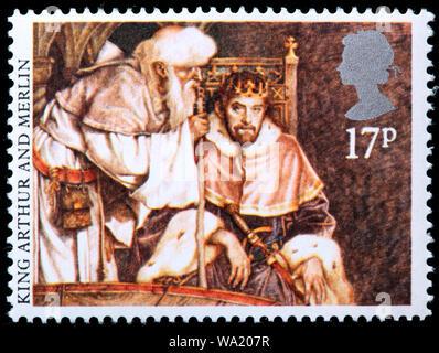 König Artus und Merlin, Artussage, Briefmarke, UK, 1985 - Stockfoto