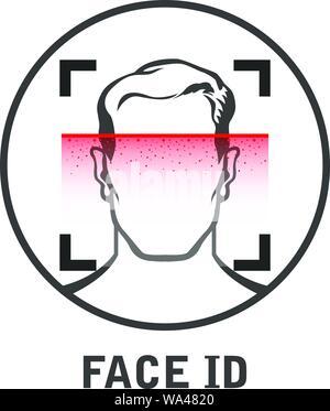 Face id Symbol - Gesichtsbehandlung Scanner für Smart Phone oder Laptop scannen, Scannen - Stockfoto
