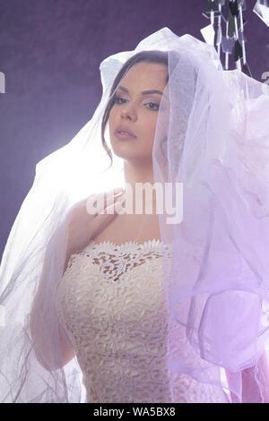 Portrait von die schöne Braut gegen ein Licht in Innenräumen im Rauch - Stockfoto