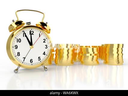 Golden Wecker und Stapel von Goldmünzen. Weißer Hintergrund. Zeit ist Geld. 3D-Rendering