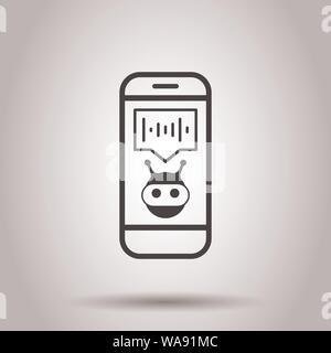 Voice Assistant auf dem Smartphone Symbol im flachen Stil. Ton aufnehmen Vector Illustration auf isolierte Hintergrund. Chat Anerkennung Geschäftskonzept. - Stockfoto