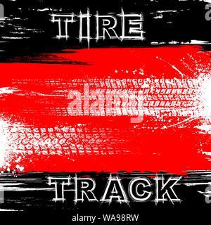 Rot und Schwarz grunge Linien Hintergrund mit Reifenspuren - Stockfoto