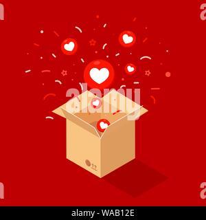 Rote Herzen fliegen aus einer Mailbox auf rotem Hintergrund isoliert. Verkauf, shopping. Urlaub, Weihnachten, Geburtstag Konzept - Stockfoto