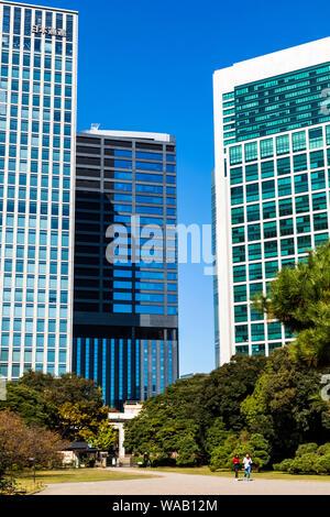 Japan, Honshu, Tokio, Hama-rikyu Gardens und der Gegend Shiodome Skyline, 30076597 - Stockfoto