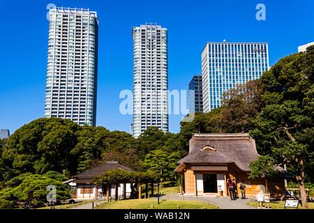 Japan, Honshu, Tokio, Hama-rikyu Gardens und der Gegend Shiodome Skyline, 30076595 - Stockfoto