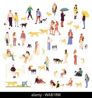 Satz von vielen Menschen wandern mit Hunden. Männer und Frauen im Freien mit Haustieren. Corgi, Labrador, Retriever, Schäferhund, Spaniel, Deutscher Schäferhund, Retriever, Chihuahua. - Stockfoto
