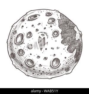 Dass der Raum voller Mond Planeten monochromen Vector - Stockfoto