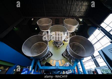Die Geschichte der bemannt Raumfahrt im Space und Rocket Center in Huntsville, Alabama. Dies ist der 50. Jahrestag der Mondlandung. - Stockfoto