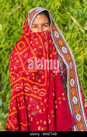 Ahir verschleierte Frau in traditionelle bunte Tuch, tolle Rann von Kutch Wüste, Gujarat, Indien. - Stockfoto