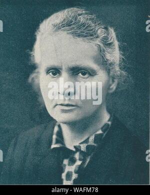 Marie Curie Sklodowska (7.11.1867 - 04,17. 1934) ist ein weltweit bekannter Physiker und Chemiker bekannt für ihre Arbeit an Radioaktivität. Marie war in Warschau in Polen geboren und zog später nach Paris ihr Studium weiter. Sie war die erste Frau, die den Nobelpreis und die erste Person, die Nobelpreise erhalten zu vergeben, in Physik und Chemie werden. Vervielfältigung: FoKa/FORUM - Stockfoto