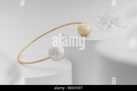Golden und Perle Armband mit dimond auf Hintergrund - Stockfoto