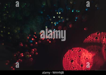Close up Virus, Zelle Mikroskop abstrakt und roten bokeh Hintergrund. - Stockfoto