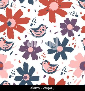 Blumen muster mit Blumen. Hand gezeichnet Vektor-illustration, perfekt für die Erstellung von Stoffen, Grußkarten, Geschenkpapier, Verpackungen. - Stockfoto
