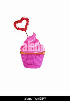 Cupcake mit rosa Creme und Rot Karamell in der Form eines Herzens und einer rosafarbenen wrap Aquarell - Stockfoto