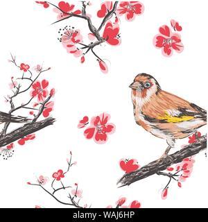 Nahtlose Muster mit Kirschblüten. Nahtlose Muster für Tapeten verwendet werden können, musterfüllungen, Webseite Hintergrund, Oberflächenstrukturen. Wunderschöne nahtlose floral background - Stockfoto