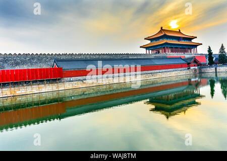 Hinteres Gatter, himmlische Reinheit, gugong Verbotene Stadt, Beijing, China. Der Kaiserpalast gebaut in den 1600's während der Ming Dynastie - Stockfoto