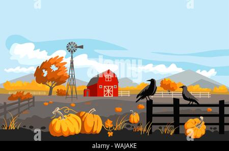 Herbst Landschaft Landschaft. Ländliche Abbildung mit Kürbissen, Krähen und Scheune. Thanksgiving Design. - Stockfoto