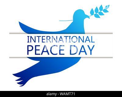 Internationaler Tag des Friedens. Grußkarte mit Taube und Olive Branch auf einem weißen Hintergrund. Blauen Gradienten. Vector Illustration - Stockfoto