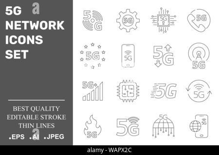 5G-Netzwerk Symbole gesetzt. 5G-Technologie. Editierbare Schlaganfall. EPS 10.
