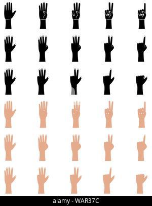 Gesten der Hand Symbole in Flach- und glyphe Stil. Handfläche und Handgelenk. Eins, zwei, drei, vier, fünf Finger, Graf Vector Illustration auf weißem Hintergrund - Stockfoto