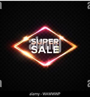 Super Sale Leuchtreklame. Dunkle transparenten Hintergrund. - Stockfoto