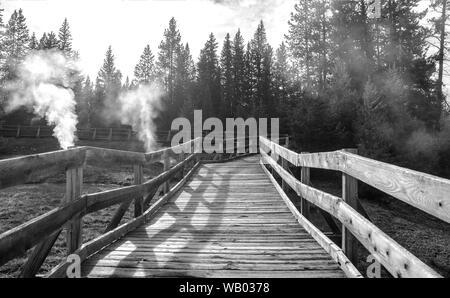 Holzbrücke über Geysir im Yellowstone National Park - Stockfoto