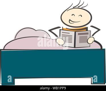 Stickman Charakter im Bett sitzen, lesen ein Buch oder eine Zeitung Vector Illustration - Stockfoto
