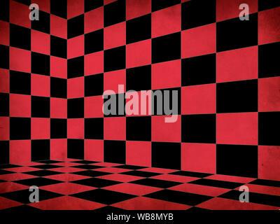 Abbildung: Grunge rot karierten Schach Zimmer Ecke Hintergrund. - Stockfoto