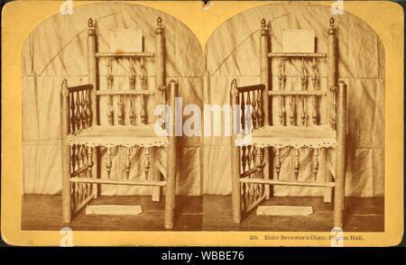 Elder Brewster's Chair, Plymouth Hall. Kilburn, B. W. (Benjamin West) (1827-1909) (Fotograf). Robert N. Dennis Sammlung von stereoskopische Ansichten - Stockfoto