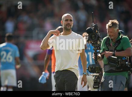 Manchester City Manager Pep Guardiola beim Premier League Spiel zwischen London und Manchester City an der Goldsands Stadion, Bournemouth, E