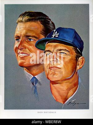 Player Portrait von Don Drysdale gemalt von NIcholas Volpe für ein Los Angeles Dodgers Werbeartikel verschenken Souvenir in den 1960er Jahren - Stockfoto