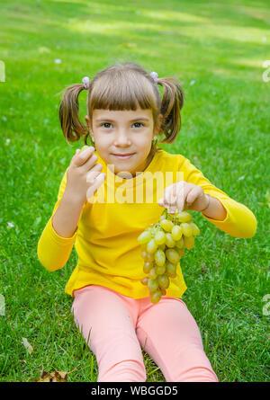 Das Kind isst weißen Trauben. Selektive konzentrieren. - Stockfoto