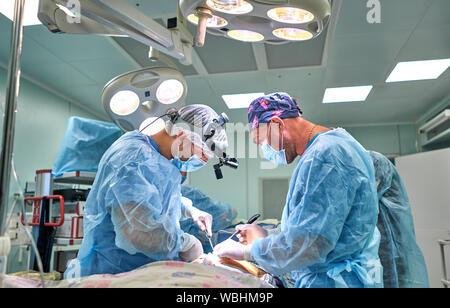 Chirurgen im Operationssaal während der Operation - Stockfoto