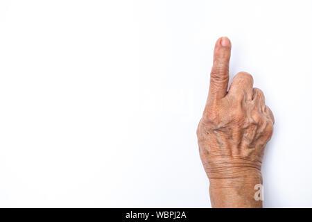 Die ältere Frau Hände zählen 1 auf weißem Hintergrund, Zahlen 1-10 in Gebärdensprache Konzept - Stockfoto