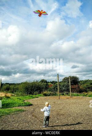 Ansicht der Rückseite des Jungen fliegenden Drachen auf dem Feld gegen bewölkter Himmel - Stockfoto