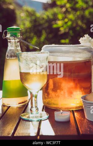 Glas mit Kombucha Getränk und Kaffee Pilz in und aus Glas im Freien im sonnigen Sommerabend, Garten serviert, Cookies in der Schüssel und Weiß Lila Blume jar. - Stockfoto