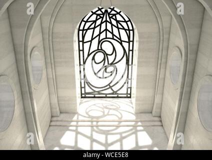 Eine leere Grand steinerne Kirche Innenraum beleuchtet durch Sonnenstrahlen durch eine dekorative Glasfenster mit der Darstellung der Krippe in der Tageszeit - 3D-Rendering - Stockfoto
