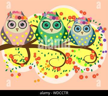 Eine Familie von hellen, Cartoon, niedliche, bunte Eulen an einem blühenden Baum, Eltern, Kinder, Küken - Stockfoto