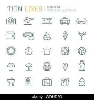 Sammlung von Sommer dünne Linie Symbole. Vector EPS 8. - Stockfoto